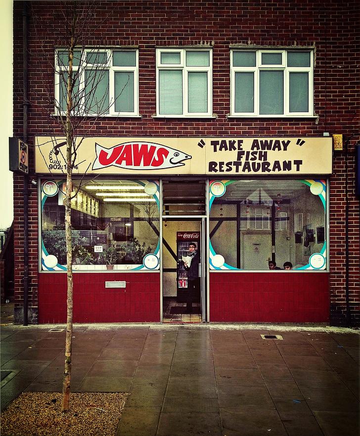 negozio di pesce, cibo, pesce, negozio, business, segno, Fast food