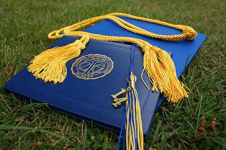 дипломирането, Grads, капачка, диплома, образование, колеж, училище