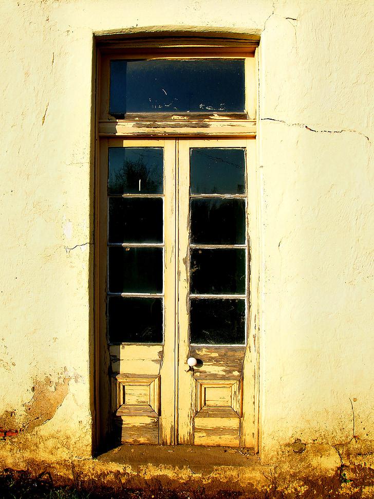 old door, door, country, country door, french door, old wall, house wall