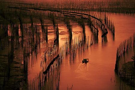 Xia pu, platja, embarcacions de pesca, posta de sol, Badia s