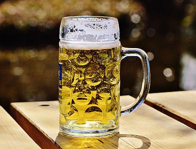 pivo, pivski vrt, žeđ, staklena krigla, piće, čaša piva, pivska krigla