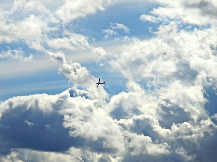 selgelflieger, glider, aircraft, sky, clouds, clouds form, dramatic