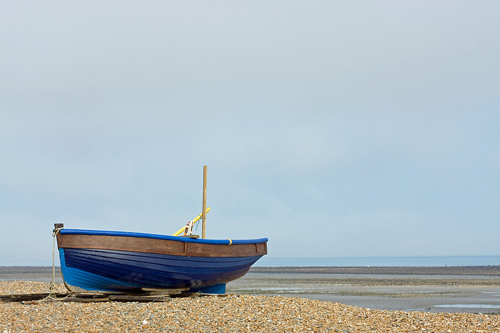 fishing boat, boat, wooden, blue, beach, sea, ocean