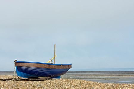 vaixell de pesca, vaixell, fusta, blau, platja, Mar, oceà