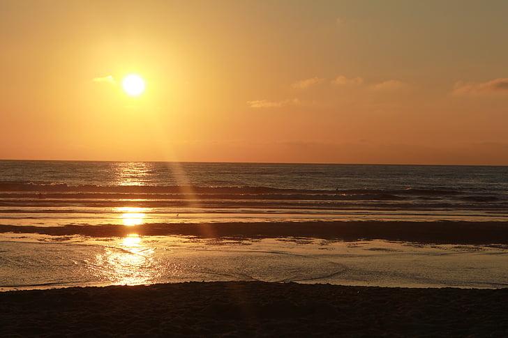 στη θάλασσα, Ήλιος, παραλία, ηλιοβασίλεμα, βραδινό ουρανό, Ήλιος και θάλασσα