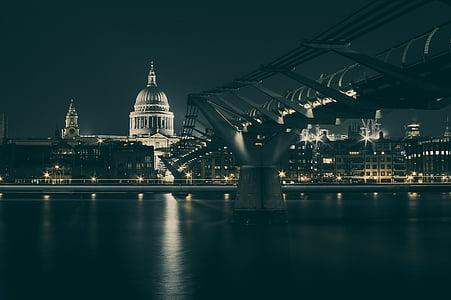 london, st paul's, great britain, night, bridge, city, town