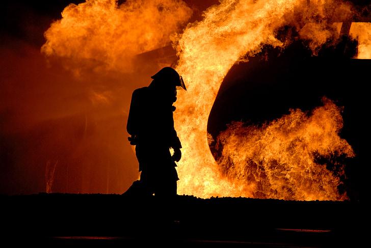 pompier, formation, vivre, feu, contrôlé, protection, danger