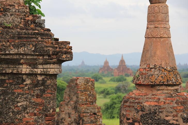 Mjanmarsko, Barma, Bagan, chrám, Cestovanie, Ázia, stupa