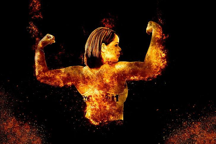 sieviete, Sports, sportisks, muskuļu, fitnesa, aktīvs, māksla