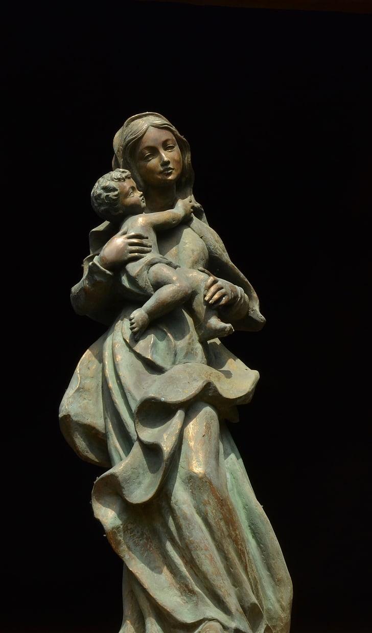 maria, christ, image, statue, religion, church