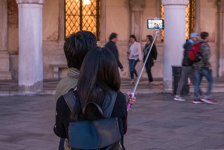 Вечер, Селф, selfiestick, туристы, Венеция, Площадь Святого Марка, ночь