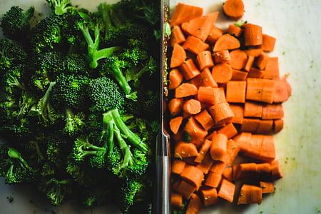 brokoli, korenje, sesekljan, deska za zastiranje, kuhanje, desko za rezanje, hrane