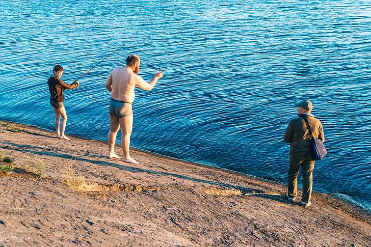 part superior, angle, fotos, tres, homes, peu, vora del mar