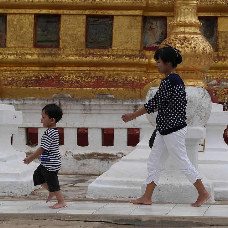 matka, dieťa, Barma, chrám, Mjanmarsko