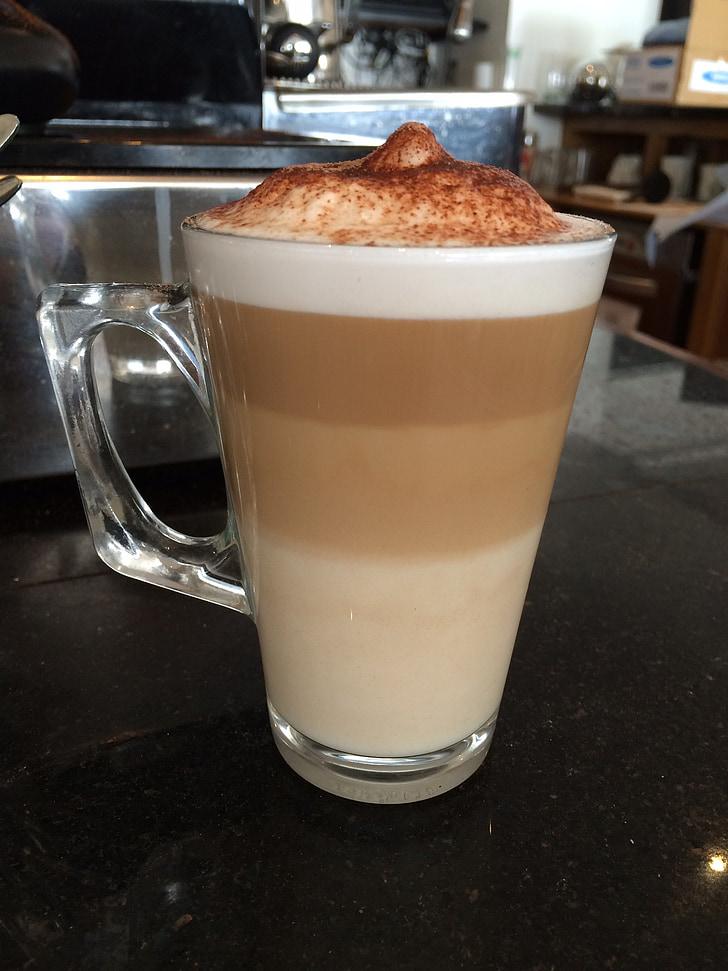 vrstvené, latte, káva, hnedá, Kofeín, vrstva, mlieko
