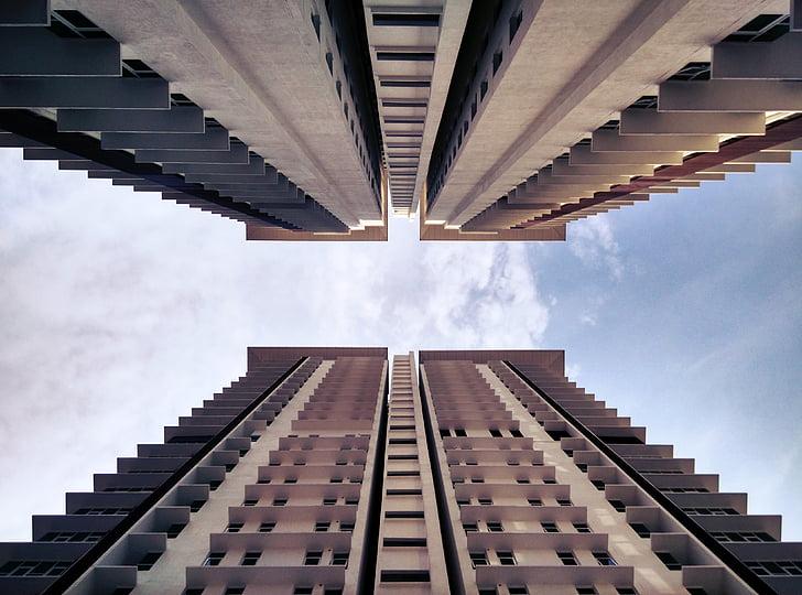 hoonete, perspektiivi, taevas, Urban, kaasaegne, arhitektuur, välisilme