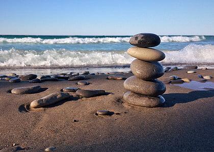 roches, empilé, Balance, rivage de la plage, plage, mer, vague