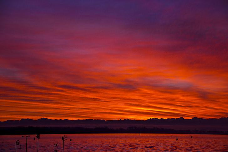 morgenrot, salida del sol, sol, cielos, color rojo brillante, Lago