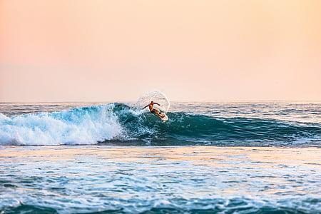 pláž, muž, oceán, osoba, Já?, sportovní, surfař