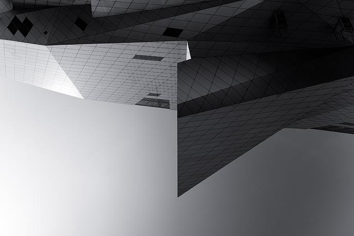 arhitektuur, hoone, infrastruktuuri, must, valge, must ja valge, kaasaegne