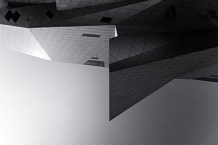 arquitectura, edifici, infraestructura, negre, blanc, blanc i negre, moderna
