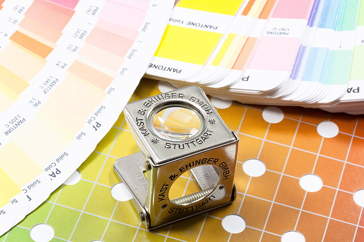 magnifying glass, thread counters, color fan, pantone, printing inks, concentrated, grid
