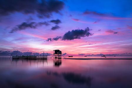 soluppgång, Phu quoc, ön, Ocean, vatten, landskap, Sky