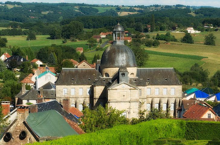 Dordogne, Francie, budovy, Domů, Domů, vesnice, krajina