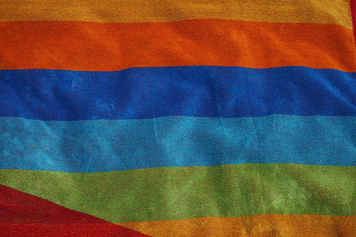 törülköző, fürdőlepedő, csíkok, csíkos, színes, szín, hátterek
