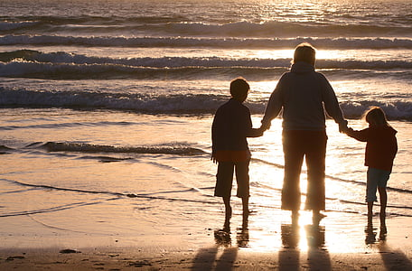 family, sunset, leisure, people, child, summer, together