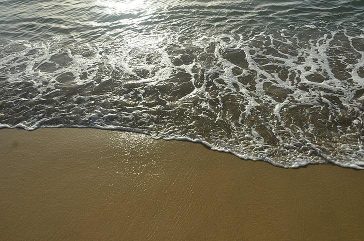 the waves, the sea, caribbean sea, sunshine, beach