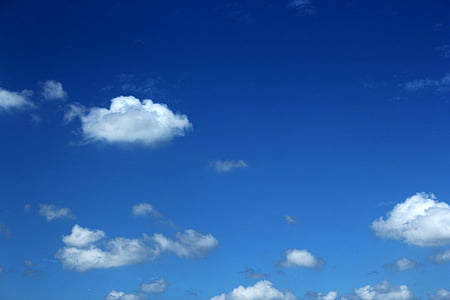 chmury, dyskietki chmury, zachmurzone niebo, błękitne niebo, Natura, niebo, pochmurno