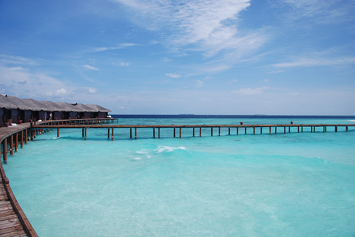 the sea, maldives, views, beach, white sands, wooden pier