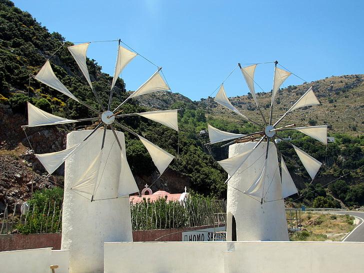 moulins à vent, l'île de Crète, plateau, paysage, vacances