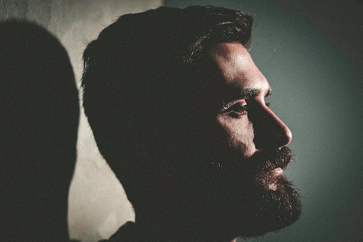 persones, home, responsable, cara, barba, bigoti, paret,