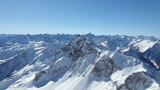 ostry róg, Allgäu, Tannheim, alpejska, zimowe, śnieg, Alpy Algawskie