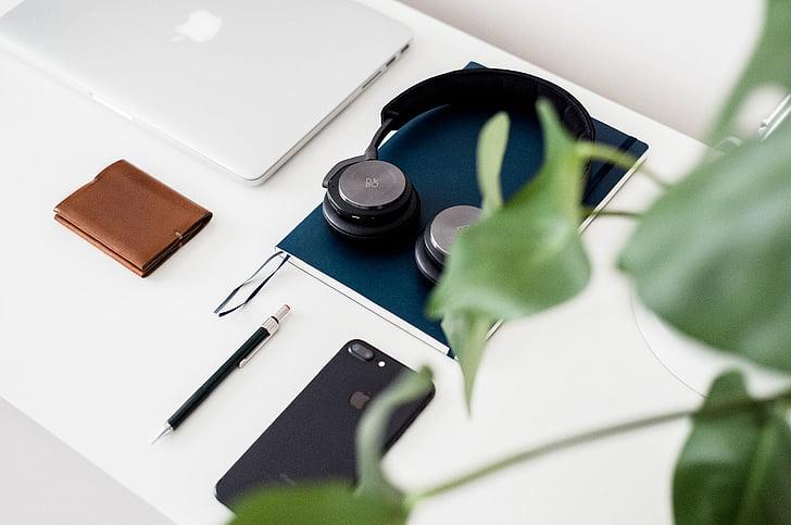 biela, Tabuľka, Apple, mobilné, telefón, Peňaženka, slúchadlá