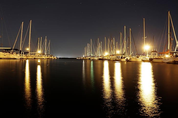 båtar, hamnen, segelbåtar, segelbåtar, vatten