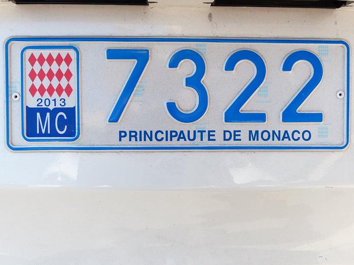 placa de la licencia, Mónaco, Automático, Escudo, aprobación, registro, placas de coche