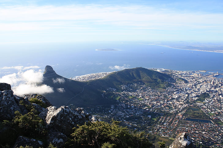cape town, south africa, mountain, city, scenic, africa, landmark