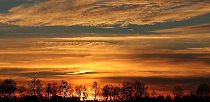 sunset, sun, evening sky, clouds, abendstimmung, setting sun, panorama