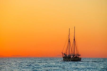 barca a vela, barca, corpo, acqua, tramonto, mare, imbarcazione a vela