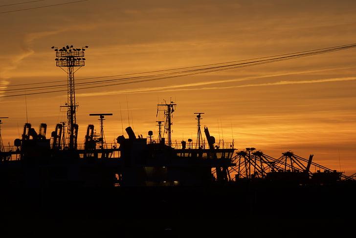 Hambourg, port, industriel, marine marchande