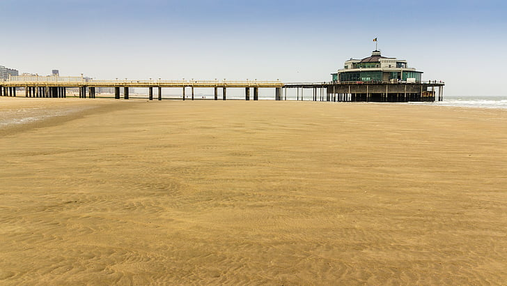 pludmale, Ziemeļjūras, jūras tiltu, smilts, jūra, krasta līnija