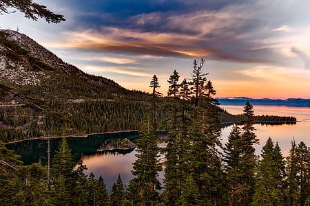 lake tahoe, Kalifornien, Emerald bay, vatten, reflektioner, Sky, moln