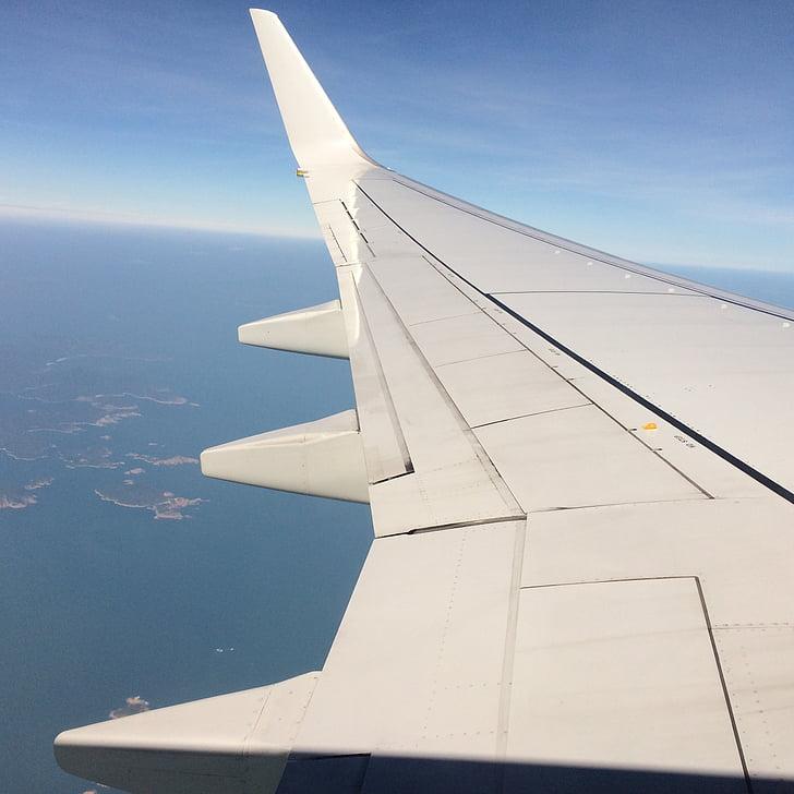 máy bay, cánh, đám mây, máy bay, đi du lịch, trên một chuyến đi kinh doanh, bầu trời xanh