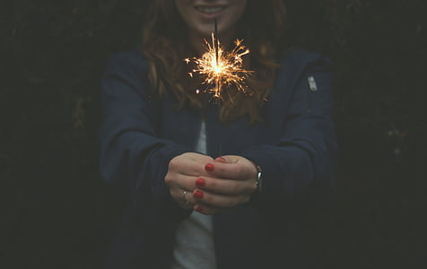 firework, light, person, sparkler, woman