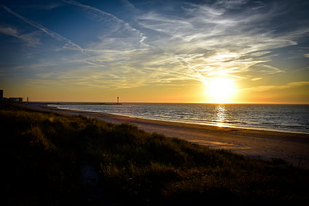 stranden, daggry, skumring, natur, hav, sand, naturskjønne