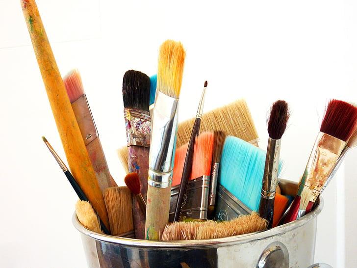 brosse, peinture, art, peinture, pinceaux, Couleur, coloré