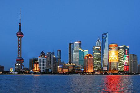 Shanghai, Skyline, blå timmen, stadsbild, Urban skyline, arkitektur, berömda place